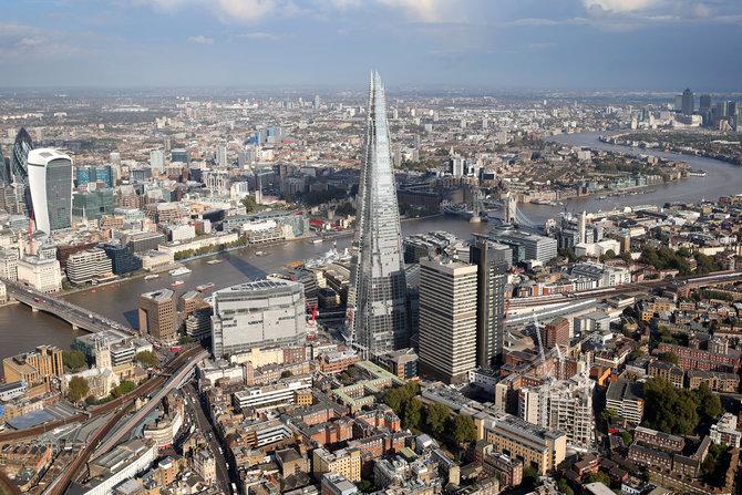 London city skyline view from above London Bridge